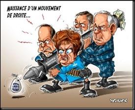 Caricature illustrant le débat acrimonieux gauche-droite